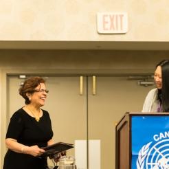 Senator Mobina Jaffer & UNA-Vancouver Co-President, Courtney Szto.